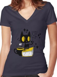 Books and Cats and Tea Women's Fitted V-Neck T-Shirt