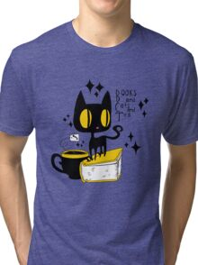Books and Cats and Tea Tri-blend T-Shirt