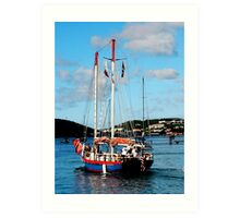 Red, White and Blue Boat at St. Thomas Art Print