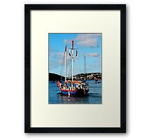 Red, White and Blue Boat at St. Thomas Framed Print