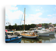 Line of Docked Boats, Tuckerton Seaport, NJ Metal Print