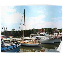 Line of Docked Boats, Tuckerton Seaport, NJ Poster