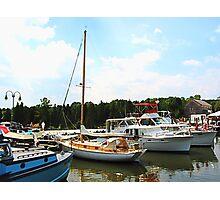 Line of Docked Boats, Tuckerton Seaport, NJ Photographic Print