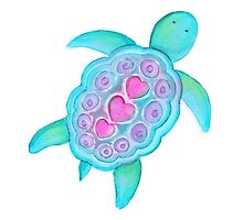 Whimsical turtle watercolor kids art Photographic Print