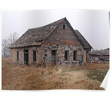 Abandoned Brick Farm House Poster