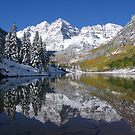 """Reflecting on A Perfect Day - Maroon Bells, CO"" by Nyakaya"