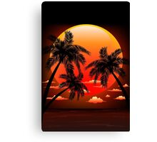 Warm Topical Sunset with Palm Trees Canvas Print
