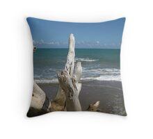 Beach: Natural Worn Tree Throw Pillow