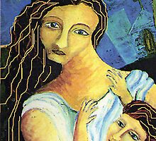 Mother, child, close up by Cheryle  Bannon