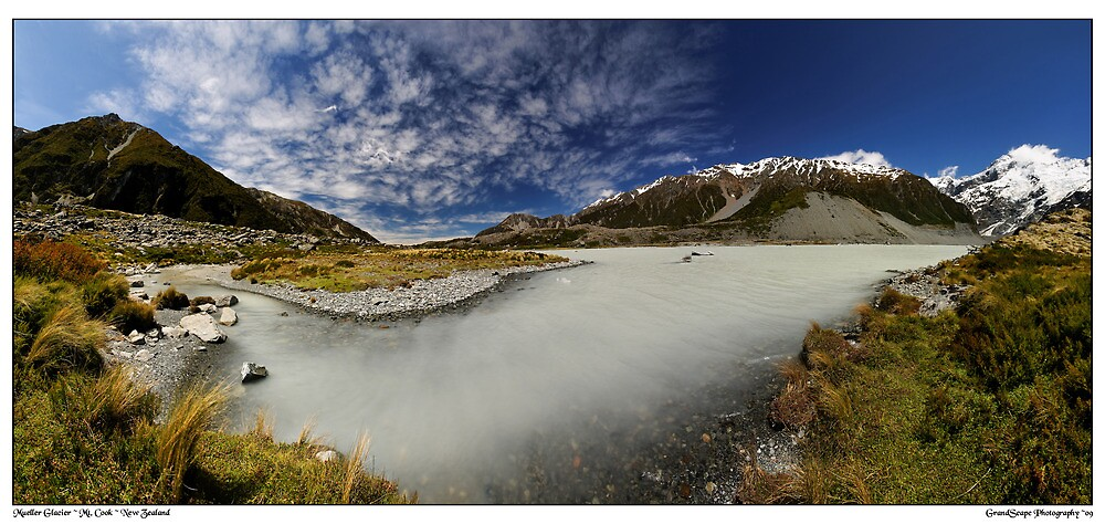 Mueller Glacier Terminal Lake Panorama by Robert Mullner