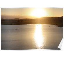 The sunset over Leslie Dam, western Queensland Poster