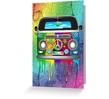 Hippie Van Dripping Rainbow Paint Greeting Card