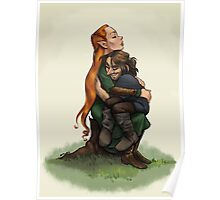 Kiliel: Tauriel and Kili from the Hobbit on a Tree Stump Poster