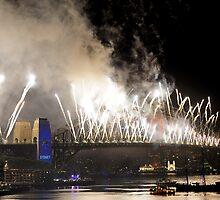 Sydney New Year Eve 2009 Fireworks - White V's by Gino Iori