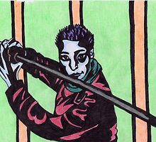 Man Holding Kendo Sword in Colour by Kyleacharisse