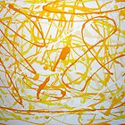 Drip Painting, White and Shades of Yellow on White by bmwlego