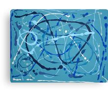 Drip Painting, White and Shades of Blue on Blue Canvas Print