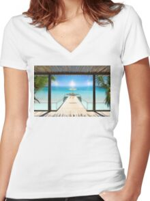 Sun Halo in the Seychelles Women's Fitted V-Neck T-Shirt