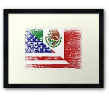 Vintage Mexican American Flag Cool T-Shirt Framed Print