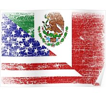 Vintage Mexican American Flag Cool T-Shirt Poster