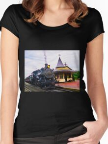 Locomotive Steam Engine Women's Fitted Scoop T-Shirt
