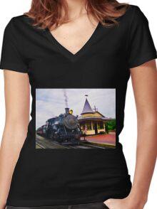 Locomotive Steam Engine Women's Fitted V-Neck T-Shirt