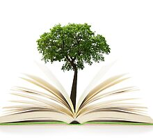 Tree growing from an open book, alternative recycling concept by Digital Editor .