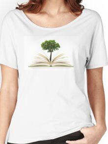 Tree growing from an open book, alternative recycling concept Women's Relaxed Fit T-Shirt