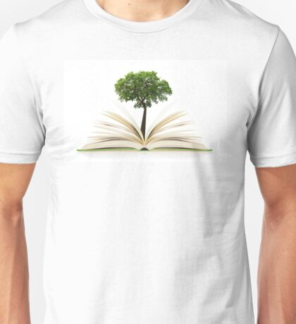 Tree growing from an open book, alternative recycling concept Unisex T-Shirt