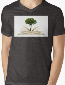 Tree growing from an open book, alternative recycling concept Mens V-Neck T-Shirt