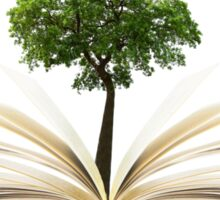 Tree growing from an open book, alternative recycling concept Sticker