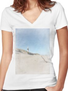 Spurn Point Lighthouse | Texture Women's Fitted V-Neck T-Shirt
