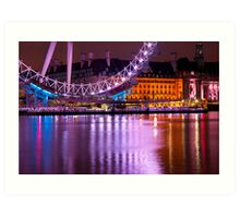 The London Eye at Night: London UK. Art Print