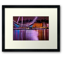 The London Eye at Night: London UK. Framed Print