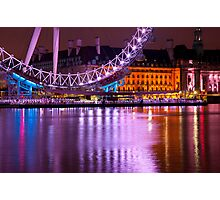 The London Eye at Night: London UK. Photographic Print