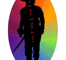 Athos Rainbow Illustration - Musketeer Motto by burketeer