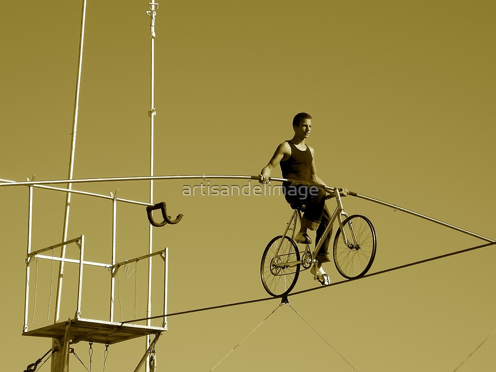 Tightrope Cyclist by artisandelimage