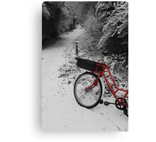 Red Bicycle on Black and white Canvas Print