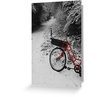 Red Bicycle on Black and white Greeting Card