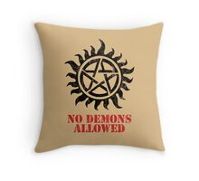 Supernatural No Demons Allowed [BLACK] Throw Pillow