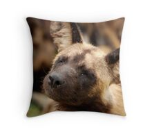 African Painted Wolf nap attack Throw Pillow