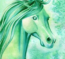 May Emerald Horse Watercolor Painting by Anila Tac