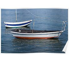2 rowboats floating Poster