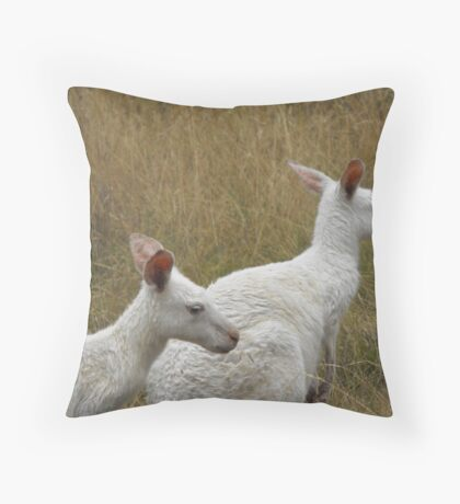 Snow Kangaroos Throw Pillow