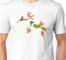 Colibri on tropical lily flower Unisex T-Shirt