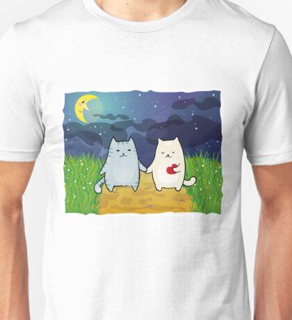Cats under the moon Unisex T-Shirt