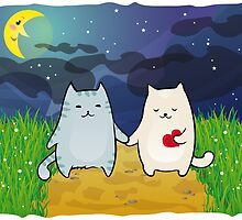 Cats under the moon by -ashetana-