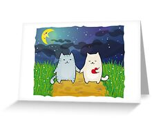 Cats under the moon Greeting Card