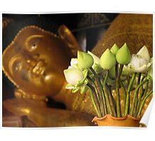 Lotus and buddha Poster