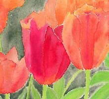 Orange And Red Tulips by Conni Schaftenaar